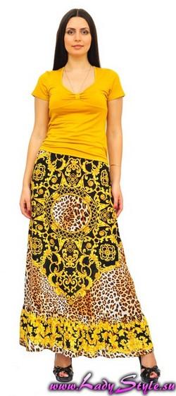 Юбка черно-желтая летняя