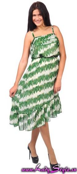 Платье бело-зеленое легкое