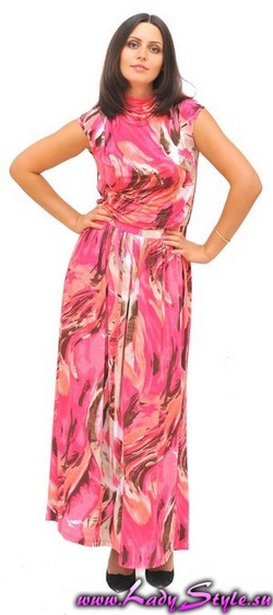 Платье розовое трикотажное  длинное